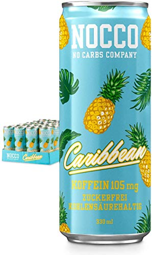 NOCCO BCAA Carribean 24 x 330 ml inkl. Pfand Proteinreiches Energy - Getränk ohne Zucker No Carbs Company Vitamin- und Koffein-Boost