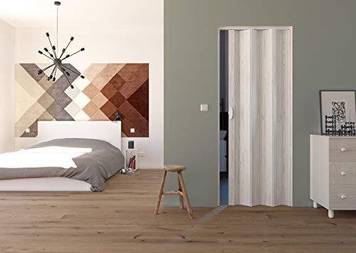 Falttür aus PVC Kunststoff WEISS gerippt, H 214 x 88,5 cm, Griff, Raumteiler, Nischentüre, Faltwand Trennwand