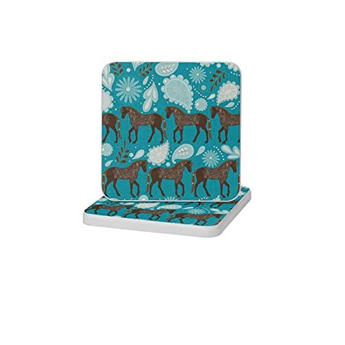 2 posavasos cuadrados de diatomita para decoración del hogar, alfombrillas antideslizantes para bebidas, soporte de cepillo de dientes, bandeja de jabón para baño y cocina, un baile con caball