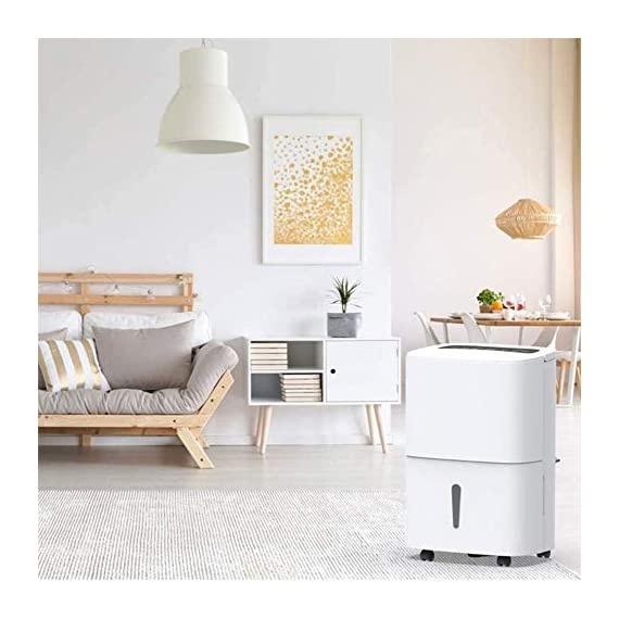 WQSFD Dehumidifier,9 Gallons/Day Spaces 1500 Sq,Sleep Mode,for Damp, Mould, Moisture in Home, Kitchen, Bedroom, Caravan… 2 - Our dehumidifier removes up to 30 pints (2012 DOE Standard) of water a day and adjust humidity from 35% to 85%, Perfect for use in Home, Basement, Cellar, Garage, Bedroom, Bathroom. Please note: depending on the climate in your area, as well as room size, you may need to purchase a larger unit for best effect. - This Energy Star certified dehumidifier is fit to quickly and effectively absorb moisture with minimal energy consumption in medium to large rooms, without racking up your energy bill. 48 dB peak sound so that you hardly notice it's there. In general, 50 decibels is probably just as loud as normal conversation. - Adjust to the ideal dehumidification setting, then let it run its continuous 24-hour cycle until the tank is full, it will automatically shut-off (Water Tank Capacity 4L) . If you don't have time, you can choose continuous drainage mode. You can use the gravity drain hose connection to empty water into your sump pump or floor drain, eliminating the need to empty the collected water by hand every few hours.