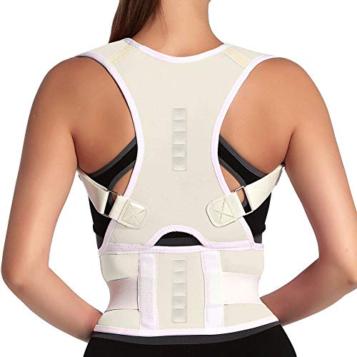 Magnetic Back Braces for Back Pain - Adjustable Posture Corrector for Men & Women - 2 Steel Bone Provides Lumbar Support - Corrective Posture & Relieve Fatigue (Beige,Small)