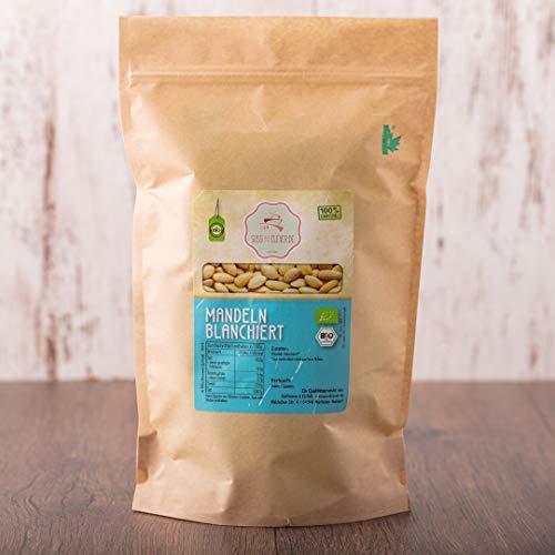 süssundclever.de® | Bio Mandeln, blanchiert | 1 kg | hochwertiges Naturprodukt | plastikfrei und ökologisch-nachhaltig verpackt | blanchierte Mandeln, Mandeln ohne Haut