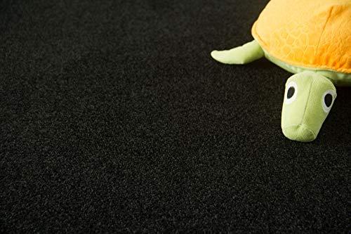 Steffensmeier Teppichboden Cambridge Young Meterware | Auslegware für Kinderzimmer Wohnzimmer Schlafzimmer | Schwarz, Größe: 300x300 cm