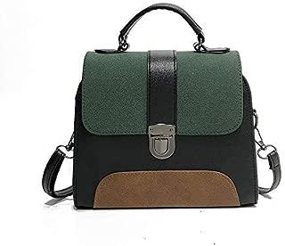 AMAZACER Casual Women Pu Leather Sling Handbag Girls Crossbody Bag Patchwork Messenger Shoulder Bag Female Brown (Color : Green)