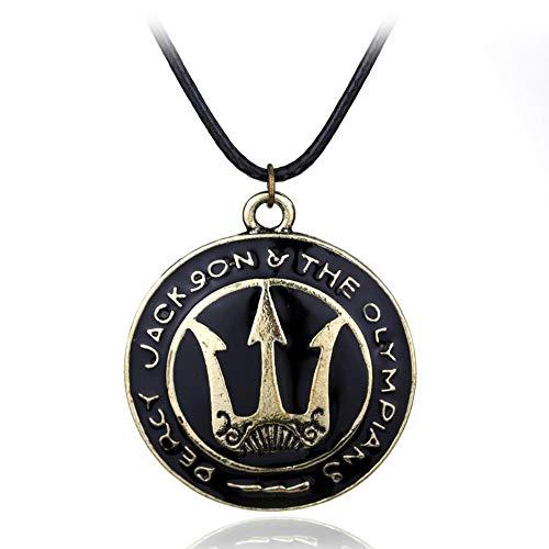 Collar Monstruos Percy Jackson Mar de Poseidon Trident Esmalte Colgantes Mujeres y Hombres Cuerda Vintage Collar de cuero al por mayor