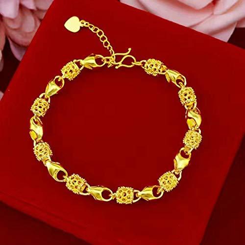 Pulsera de oro real K9999 para mujer, pulsera de oro de todo fósforo para el día de la madre, pulsera ajustable que no se desvanece para mujer, pulsera exquisita para regalo del día de San Valentín