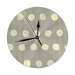 9.8 Inch Round Wall Clock,Dots - Brushed Warm Gray Silent Non Ticking Decorative Clocks for Kitchen, Living Room, Bedroom, Office