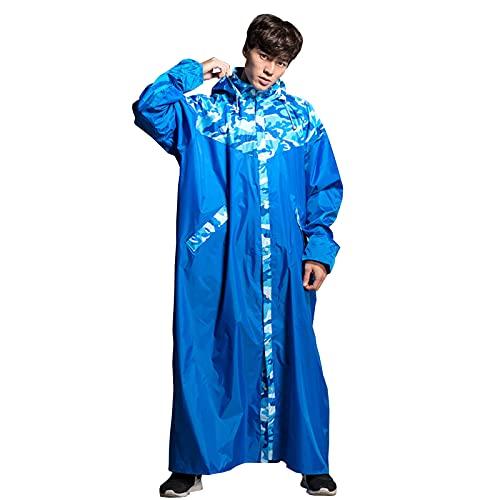 TBATM Windproof Adults Raincoat, Portable 100% Waterproof Hood Drawstring Rain Coat Jacket with Long Sleeve Reflective Stripes for Hiking Camping Festivals,L