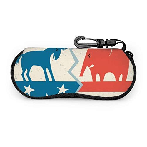 WDDHOME Demokrat esel versus republikanischer elefant politische reise brillenetui brillen leichte tragbare neopren reißverschluss soft case mädchen sonnenbrille case