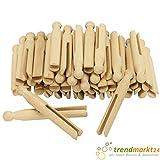 Rundkopfklammern 50 Stück Buchenholz Set mit Rundkopf ca. 11 cm groß Schlitzbreite 4 mm Natur Wäscheklammern ohne Feder Holzklammern für Bastelarbeiten...