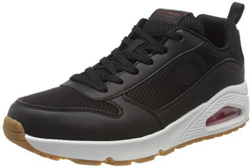 Skechers Uno 016, Sneaker Uomo, Black Pu/Mesh/Red Trim BKRD, 46 EU