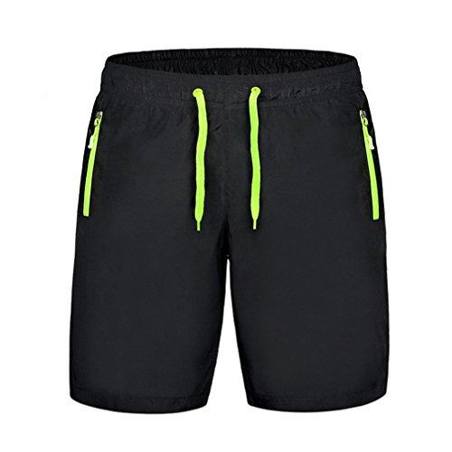 Bigood Femme Sport Lâche Pantalon Court Casual Short Mode en Polyester Noir Vert Taille XXL