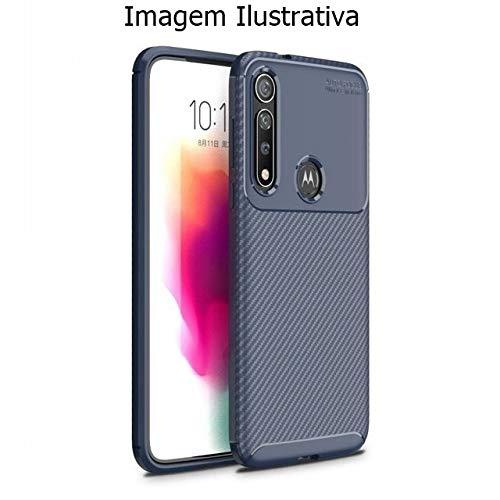 Capa Capinha Anti Impacto Para Motorola Moto G8 Case Com Desenho Fibra De Carbono Shock Queda - Danet (Azul)