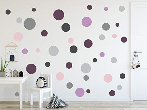 timalo® 120 Stück Wandtattoo Kinderzimmer Kreise Pastell Wandsticker – Aufkleber Punkte | 73078 (120 Stück, SET27)