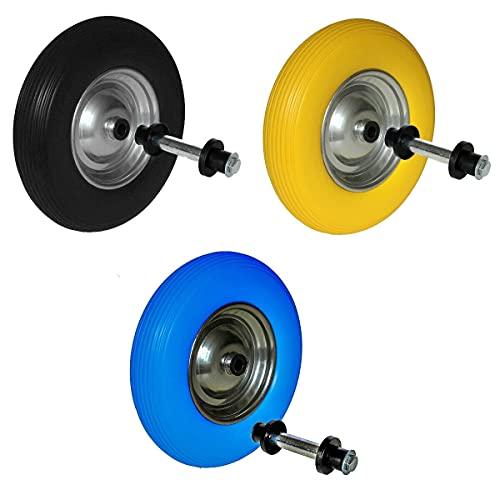 Schubkarrenrad PU/Vollgummi inklusive Achse 4.80/4 4.00-8 Rad pannensicher Schubkarrenreifen (schwarz)