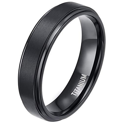 Zakk Ring Herren Damen Titan Verlobungsringe Eheringe Trauringe Schwarz Gebürstet 4mm 6mm 8mm(Schwarz-6mm, 47 (15.0))