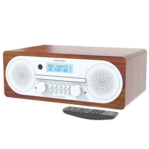 AZATOM Clockwood DAB CD player - FM Radio - Bluetooth - Stereo Speaker System -...