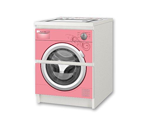 Stikkipix barntvättmaskin rosa möbelklistermärke/dekal – NSD56 – för barnkammare kommode/nattbord MALM från IKEA möbler ingår ej