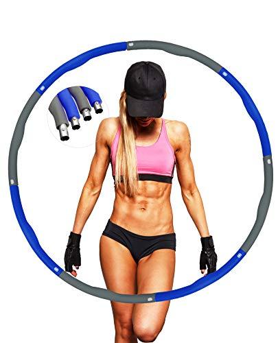 Hula Reifen für Erwachsene, zur Gewichtsreduktion,Reifen mit Schaumstoff Gewichten Einstellbar Breit 48–88 cm beschwerter Hula-Hoop-Reifen für Fitness mit Mini Bandmaß. (Blau 1)