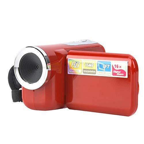 Kindercamera-camcorder, draagbare 16X HD digitale videocamera-camcorder met 2-inch TFT LCD-scherm, voor kinderen YouTube of Vlog 16MP digitale camera DV-videocamera, beste cadeau voor kinderen(rood)