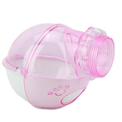 Haustier Toilette, Haustier Badewanne mit Rohrleitung, langlebige Plastiktiere Haustiere für Hamster Ratten(Pink)