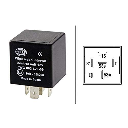 HELLA 5WG 003 620-091 Relais, Wisch-Wasch-Intervall - 12V - 6-polig - ohne Halter