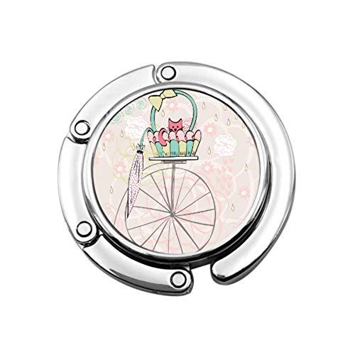 Gancho Monedero Tarjeta Vintage Gato En Bicicleta Bolso Plegable Mesa Percha-Bolso Percha...