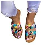 Sandalias planas para mujer, sandalias planas, para verano, informales, con lazo, con puntera abierta, cómodas, para el tiempo libre y el verano.