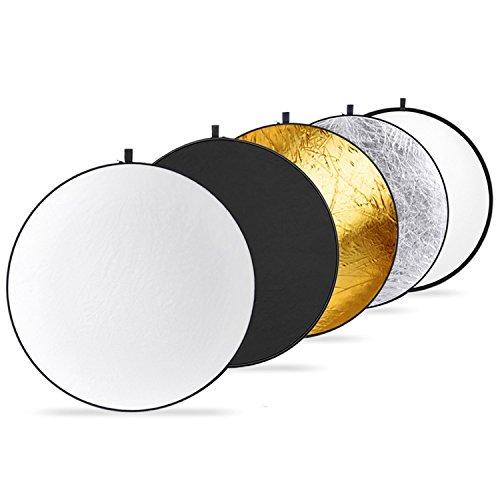 Neewer Redondo 5-en-1 Reflector Plegable Multi-Disco de 40 Centímetros con Funda de Transporte - Translúcido, Plateado, Dorado, Blanco y Negro para Estudio o Cualquier Situación de Fotografía