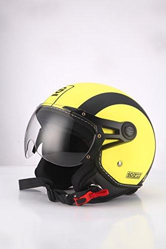 Casco moto jet amarillo de Sparco