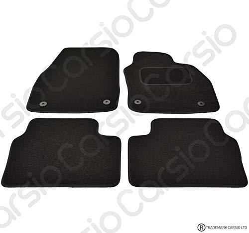 Carsio CARP-CUT-1304-(33 x 4) Alfombrillas de Coche Negras a Medida para Astra H 2004 a 2010-4 Piezas con 4 Clips