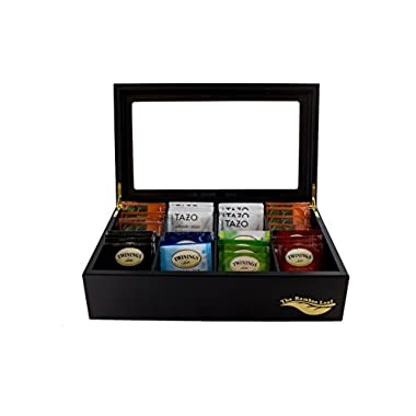 The Bamboo Leaf Luxury Wooden Tea Box Storage Chest, 8 Compartments w/Glass Window (Black)