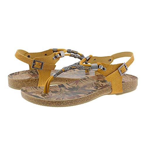 Sandalias amarillas plana de fiesta