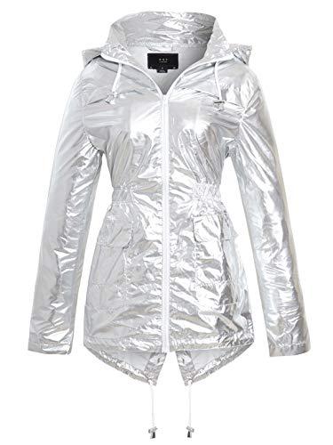 SS7 Damen Metallisches Silber Regenmantel