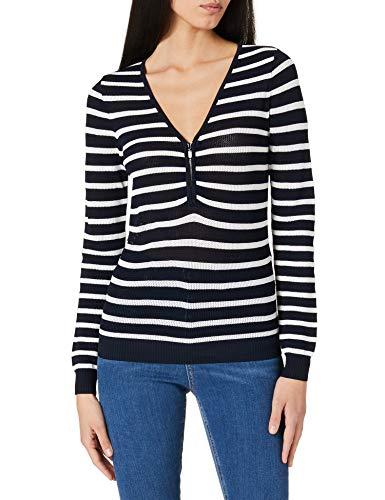 Morgan Pull tricotage Filet Zip Mesh Suéter, Marine/Off White, TM para Mujer