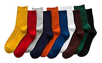 CHUNG Unisex 10Pack Novelty/Solid color Dress Socks Cotton Colorful Pattern Fashionable Funny Casual Crew Socks,Solid