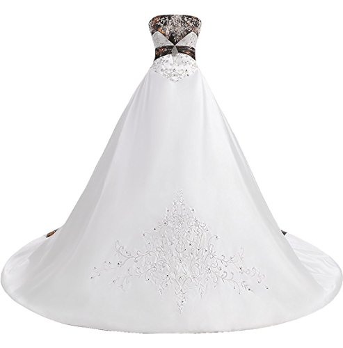 ZVOCY Satin Camo Wedding Dress Plus Size Women Ball Gown Embroidery  Camouflage Bridal Gown White 22