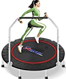 tomser 43'' Silent Foldable Trampoline, Exercise Fitness Trampoline with Higher 50' Adjustable Handrail Fitness Rebounder with Carry Bag Mini Trampoline for Kids Adults Indoor Max Load 450lbs