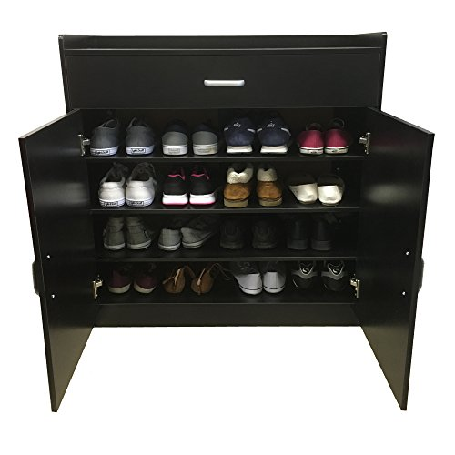Meuble à Chaussure Redstone, Noir, Blanc ou hêtre, Meuble de Rangement avec Placard – 4 étagères + 1 tiroir – Buffet en Bois (Noir)