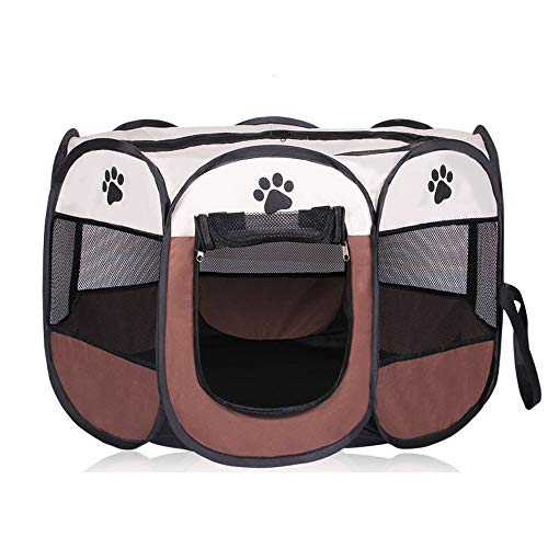 SEOGET Pet Playpen Outdoor Pet Octagonal Dog Fence Portable Folding Pet Tent Dog House Cage Dog Cat Tent Playpen Puppy Kennel Sofa Supplies (Brown,L)