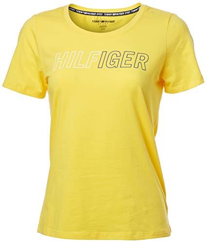 Tommy Hilfiger Women's Short Sleeve Scoop Neck Embroidered Logo T-Shirt, Deep Lemonade, Large