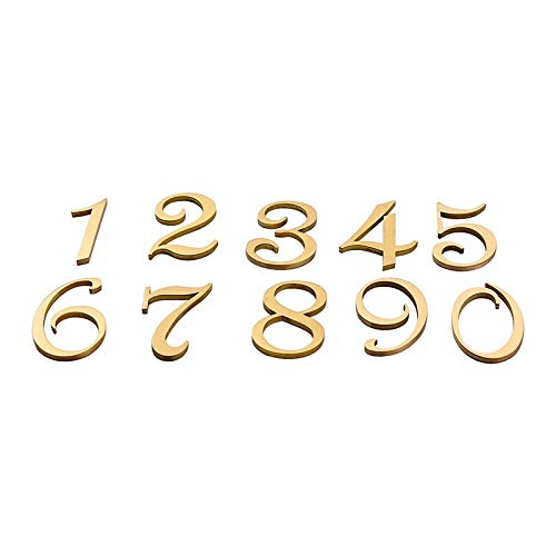 House numbers plaques Nordic Retro Style Brass Address Number Customized House Numbers For Home Gates Sticker Antique Copper House Number Sign (Color : Number 2, Height : 50mm)