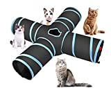 4 Way Cat Tunnel Collapsible Pet Play Tunnel Tube Toy with a Bell