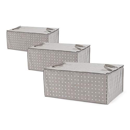 Compactor Set di 3 Custodie Rivoli Potacoperte , Chiusura lampo 100% ermetica, Antipolvere, Taupe/Pois, Polipropilene, 50 x 70 x H. 30 cm, RAN8107