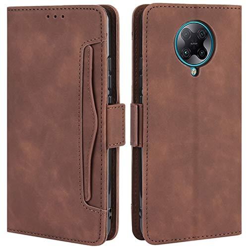 HualuBro Handyhülle für Xiaomi Poco F2 Pro Hülle Leder, Flip Hülle Cover Stoßfest Klapphülle Handytasche Schutzhülle für Xiaomi Poco F2 Pro Tasche (Braun)