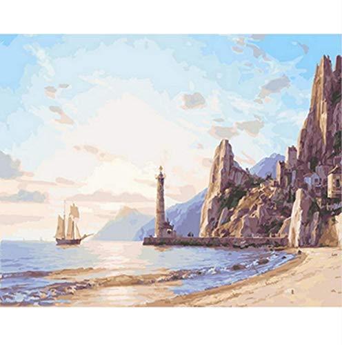 fahut Pintado Digitalmente Decoración De Pared DIY Pintura para El Hogar Faro Y Playa Pintado sobre Lienzo Cumpleaños Alojamiento Decoración Navideña Regalos 40X50CM