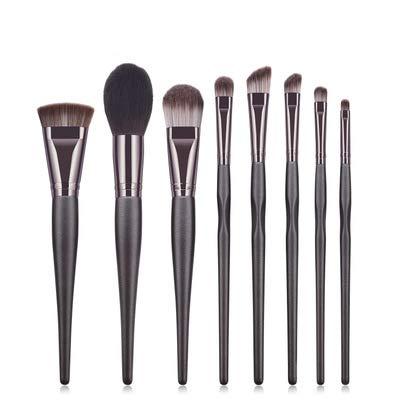 8 Pinceaux De Maquillage, Ensemble De Pinceaux, Ensemble, Outils De Beauté, Outils De Maquillage, Café Noir, Pinceau À Poudre Couleur café noir