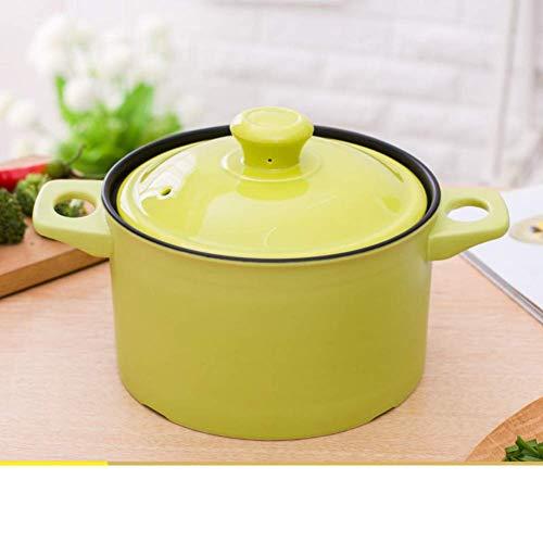 Keramikauflauf, Hochtemperatur Candy Color Crock Suppentopf mit Verbrühschutzglasurdeckel Geeignet für Open Flame Gasherd-e 2.5l