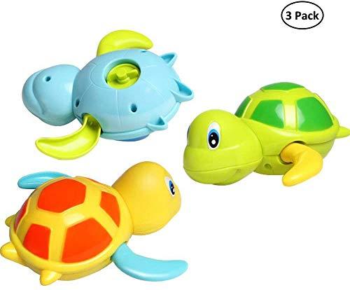 DUSG Baby Badespielzeug Baby Bade Bad Schwimmen Badewanne Pool Spielzeug Uhrwerk Schildkröte Schwimmbad Spielzeug Für Kleinkinder Jungen Mädchen (3 Farben)