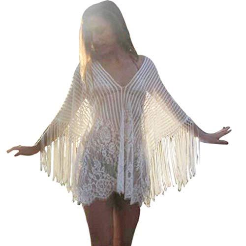 SHOBDW Trajes de baño Mujer Cubre De Playa Bikini De Baño Sexy Sólido Suelto Crochet Bata con Flecos Cubrir para Mujer Ropa De Playa De Una Pieza(Blanco,Talla única)
